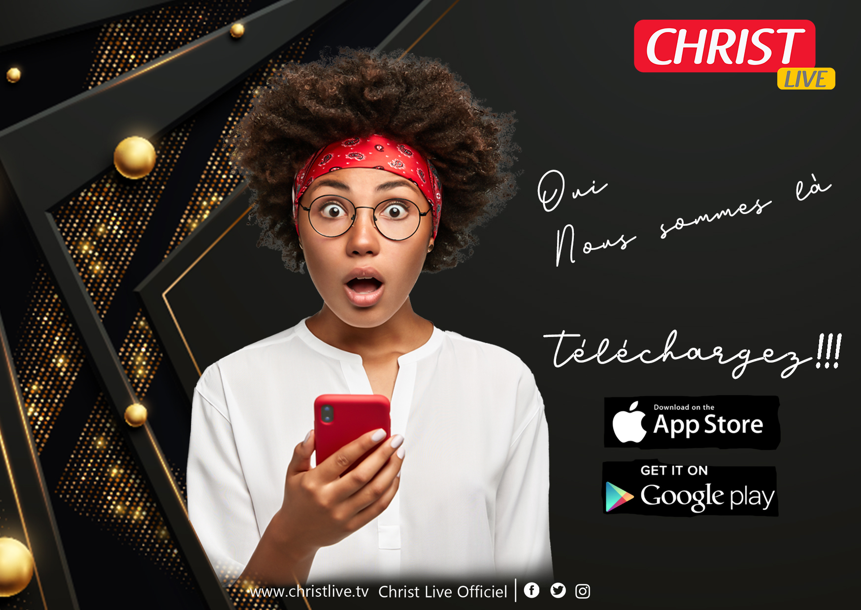 L'application Christ Live est disponible sur apple store et google play store